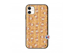 Coque iPhone 11 Petits Renards Bois Bamboo