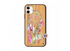 Coque iPhone 11 Pink Painted Dreamcatcher Bois Bamboo