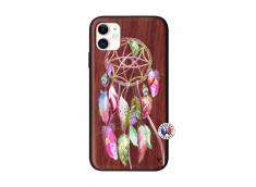 Coque iPhone 11 Pink Painted Dreamcatcher Bois Walnut