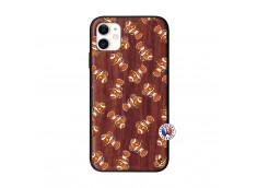 Coque iPhone 11 Petits Poissons Clown Bois Walnut