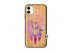 Coque iPhone 11 Purple Dreamcatcher Bois Bamboo