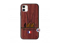 Coque iPhone 11 100 % Rugbyman Entre les Poteaux Bois Walnut