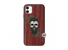 Coque iPhone 11 Skull Hipster Bois Walnut