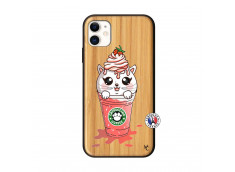 Coque iPhone 11 Smoothie Cat Ice Cream Bois Bamboo