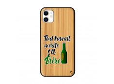 Coque iPhone 11 Tout Travail Merite Sa Biere Bois Bamboo