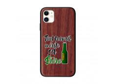 Coque iPhone 11 Tout Travail Merite Sa Biere Bois Walnut