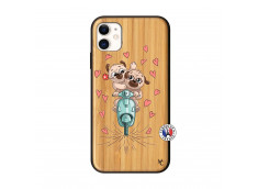 Coque iPhone 11 Puppies Love Bois Bamboo