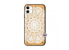 Coque iPhone 11 White Mandala Bois Bamboo
