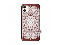 Coque iPhone 11 White Mandala Bois Walnut