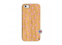 Coque Bois iPhone 5/5S/SE Flamingo