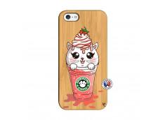 Coque Bois iPhone 5/5S/SE Catpucino Ice Cream