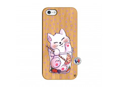 Coque Bois iPhone 5/5S/SE Smoothie Cat