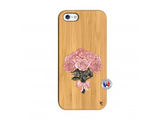 Coque iPhone 5/5S/SE Bouquet de Roses Bois Bamboo