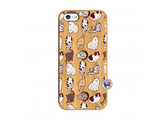 Coque iPhone 5/5S/SE Cat Pattern Bois Bamboo