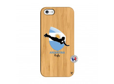 Coque iPhone 5/5S/SE Coupe du Monde Rugby-Argentine Bois Bamboo