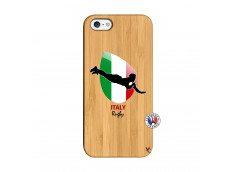 Coque iPhone 5/5S/SE Coupe du Monde Rugby-Italy Bois Bamboo