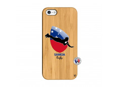 Coque iPhone 5/5S/SE Coupe du Monde Rugby-Samoa Bois Bamboo