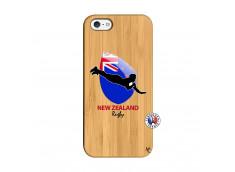 Coque iPhone 5/5S/SE Coupe du Monde Rugby- Nouvelle Zélande Bois Bamboo