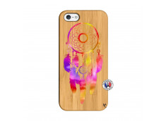 Coque iPhone 5/5S/SE Dreamcatcher Rainbow Feathers Bois Bamboo