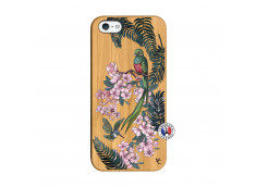 Coque iPhone 5/5S/SE Flower Birds Bois Bamboo