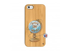 Coque iPhone 5/5S/SE Globe Trotter Bois Bamboo