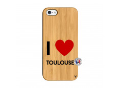 Coque iPhone 5/5S/SE I Love Toulouse Bois Bamboo