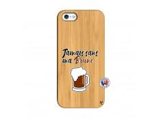 Coque iPhone 5/5S/SE Jamais Sans Ma Brune Bois Bamboo