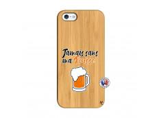 Coque iPhone 5/5S/SE Jamais Sans Ma Rousse Bois Bamboo