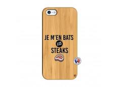 Coque iPhone 5/5S/SE Je M En Bas Les Steaks Bois Bamboo