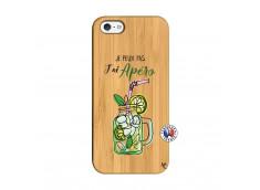 Coque iPhone 5/5S/SE Je peux pas J'ai Apéro Bois Bamboo