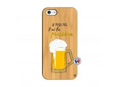 Coque iPhone 5/5S/SE Je peux pas J'ai la Pression Bois Bamboo