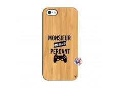 Coque iPhone 5/5S/SE Monsieur Mauvais Perdant Bois Bamboo