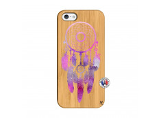 Coque iPhone 5/5S/SE Purple Dreamcatcher Bois Bamboo