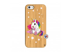 Coque iPhone 5/5S/SE Sweet Baby Licorne Bois Bamboo