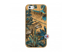 Coque iPhone 5/5S/SE Leopard Jungle Bois Bamboo