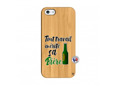 Coque iPhone 5/5S/SE Tout Travail Merite Sa Biere Bois Bamboo
