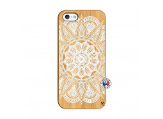 Coque iPhone 5/5S/SE White Mandala Bois Bamboo