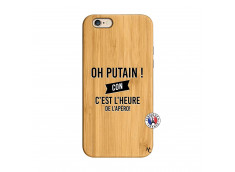 Coque iPhone 6/6S Oh Putain C Est L Heure De L Apero Bois Bamboo