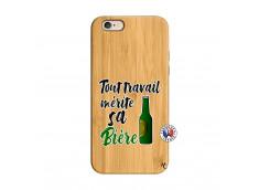 Coque iPhone 6/6S Tout Travail Merite Sa Biere Bois Bamboo