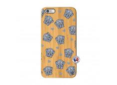 Coque iPhone 6Plus/6S Plus Petits Elephants Bois Bamboo