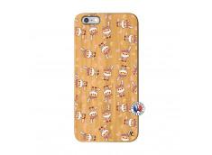 Coque iPhone 6Plus/6S Plus Petits Renards Bois Bamboo