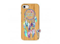 Coque iPhone 7/8 Blue Painted Dreamcatcher Bois Bamboo