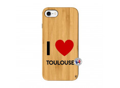 Coque iPhone 7/8 I Love Toulouse Bois Bamboo