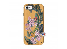 Coque iPhone 7/8/se 2020 Flower Birds Bois Bamboo