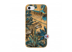 Coque iPhone 7/8/se 2020 Leopard Jungle Bois Bamboo