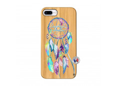 Coque iPhone 7Plus/8Plus Blue Painted Dreamcatcher Bois Bamboo
