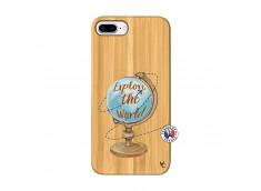 Coque iPhone 7Plus/8Plus Globe Trotter Bois Bamboo