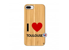 Coque iPhone 7Plus/8Plus I Love Toulouse Bois Bamboo