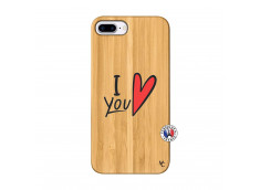 Coque iPhone 7Plus/8Plus I Love You Bois Bamboo