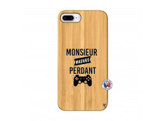 Coque iPhone 7Plus/8Plus Monsieur Mauvais Perdant Bois Bamboo